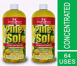 Pine Sol Concentrated Multi-Surface Cleaner and Deodorizer, Lemon Fresh Scent, 2 Count, 64 ounces Total (Packaging May Vary)