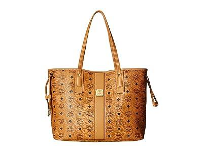 MCM Reversible Liz Medium Shopper in Visetos (Cognac 2) Handbags