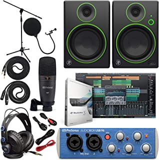 "Presonus AudioBox 96 Audio Interface (May Vary Blue or Black) Full Studio Bundle with Studio One Artist Software Pack w/Mackie CR3 Pair Studio Monitors and 1/4"" Instrument Cables"
