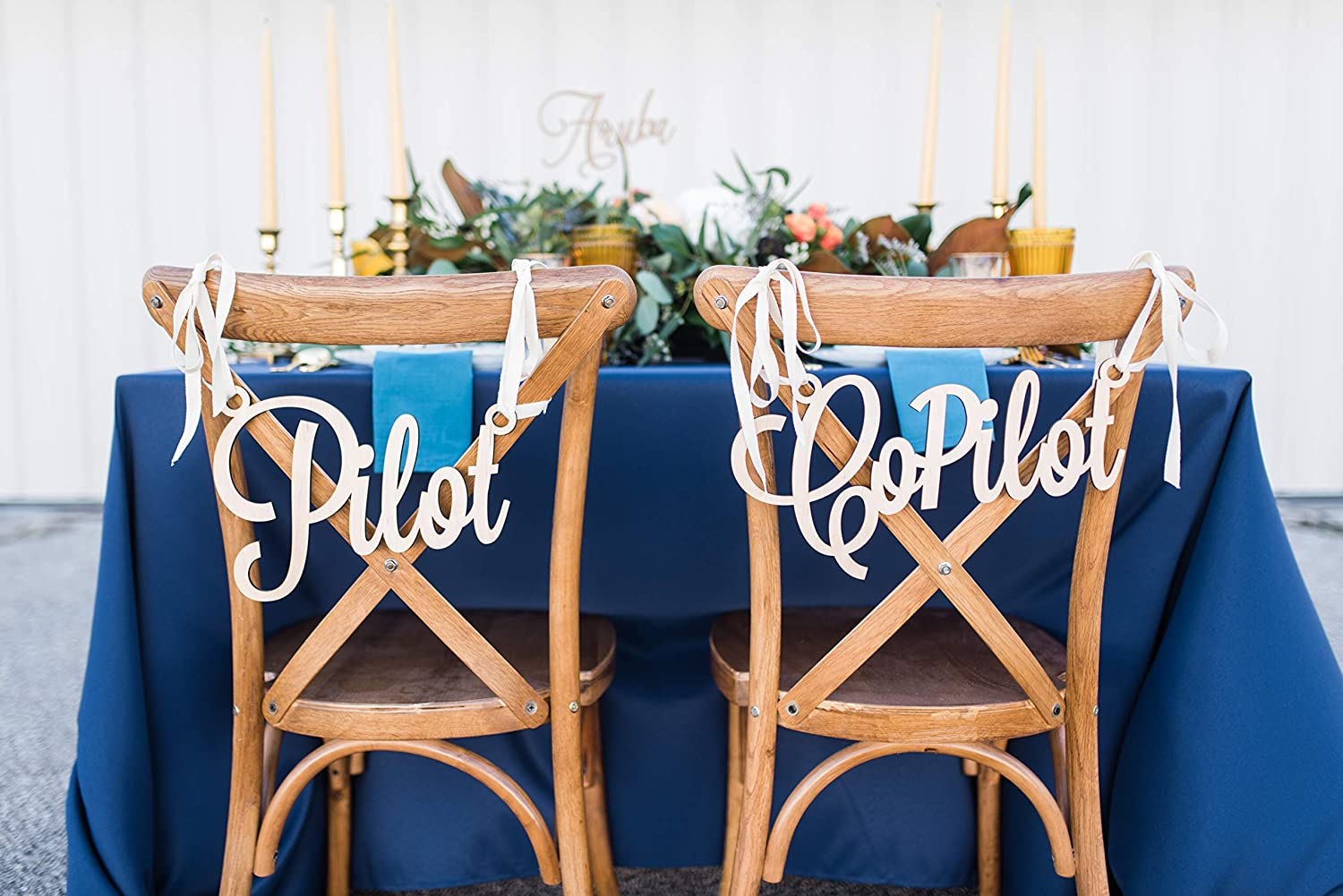 Pilot Copilot Chair Signs for Airplane Travel Some reservation Weddin Themed or Bargain