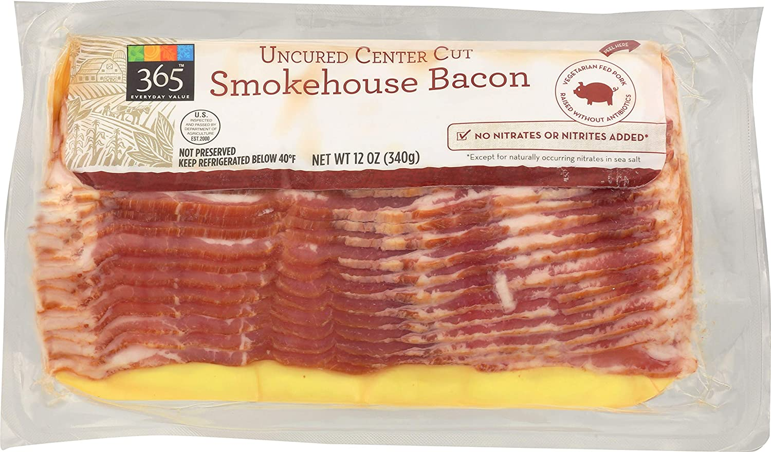 365 by WFM Pork Bacon Center Smokehouse 12 Cut Ounce Uncured Ranking TOP20 Choice