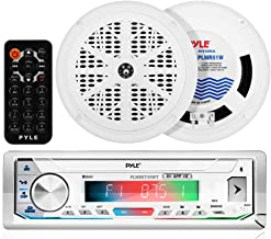 Pyle Bluetooth Marine Receiver Stereo 300W Single DIN Boat Marine Head Unit Amplifier System w/ Digital LCD, Mic, Hands-Free Calling, AUX, MP3/USB/SD, AM/FM Radio, Remote Control PLMRKT49WT.5 (White)