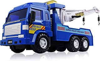 WolVol Big Heavy Duty Wrecker Tow Truck Police Toy for Kids with Friction Power (with Double Hooks)