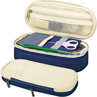 MoKo Large Capacity Pencil Pen Case, Big Capacity Storage Bag Pouch Holder Box, Stationery Organizer with Zippers for Office/School - Beige & Indigo