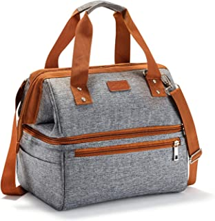 Insulated Lunch Bags for Women Men Adult Lunch Box with Double deck, SAVERHO Large Capacity Leakproof Lunch Cooler bag with Shoulder Strap Lunch Organizer for Work Outdoor Picnic(Grey)