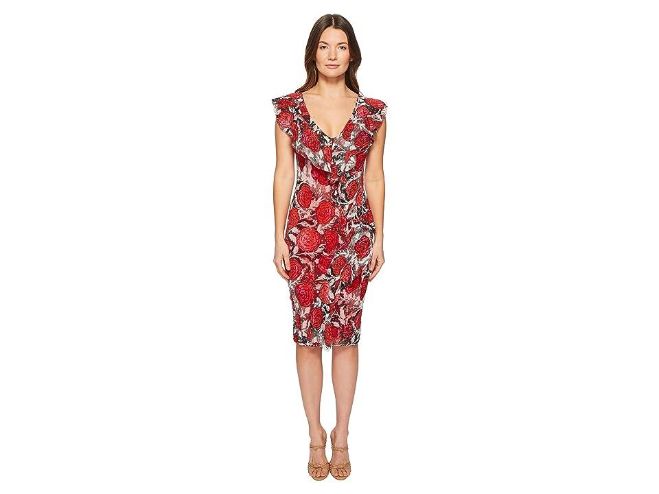 FUZZI Sleeveless Ruffle Rose Printed Dress (Nero) Women