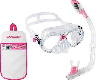Cressi Marea Conjunto Combo de Snorkel, Unisex niños, Transparente/Rosa, Talla Única