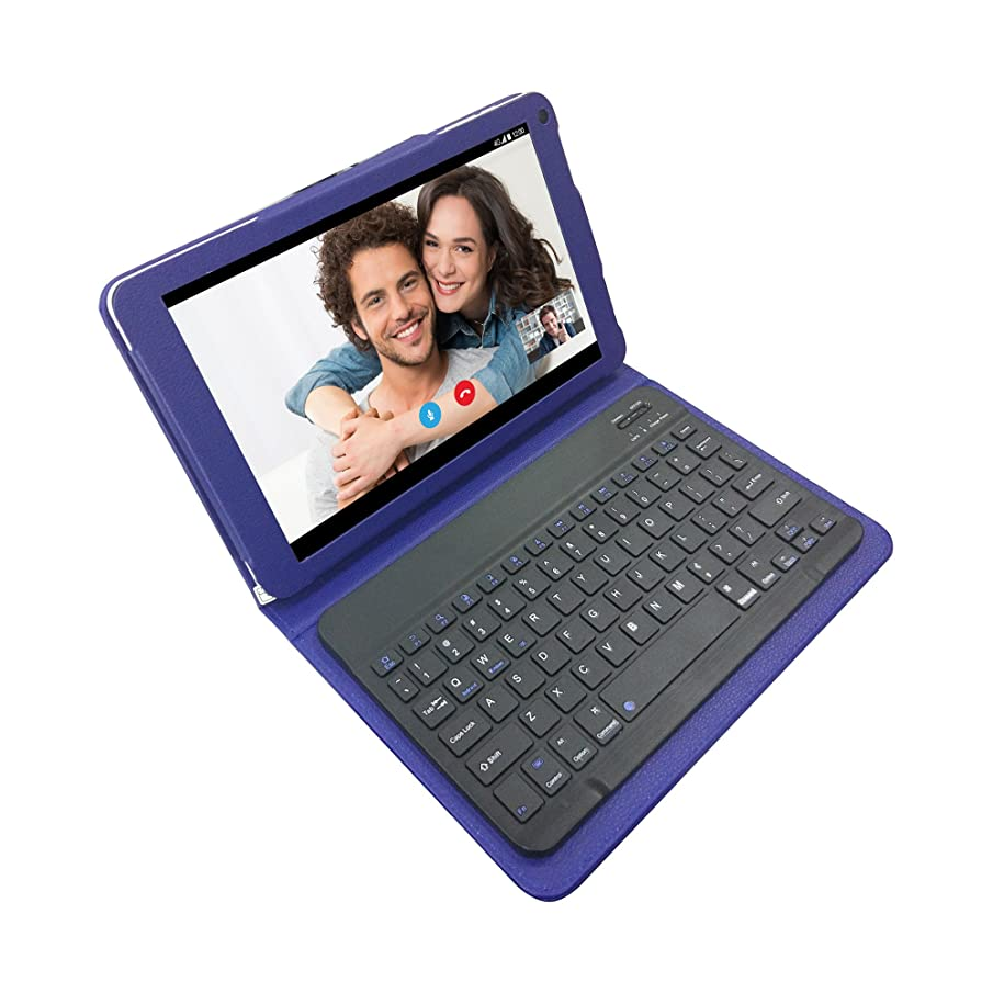 10.1 Inch 4G LTE Unlocked Tablet with Bluetooth Keyboard Case Bundle (Blue),HD IPS Quad-Core 32GB Storage Dual Cameras and Free Data