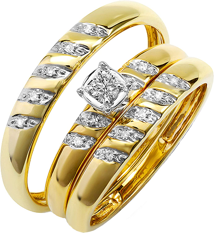 Dazzlingrock Collection 0.15 Carat (ctw) Round White Diamond Men's & Women's Engagement Rings Trio Bridal Set for Couple | 10K Yellow Gold