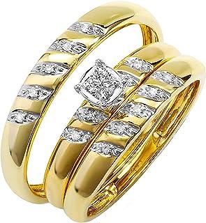 Dazzlingrock Collection 0.15 Carat (ctw) Round White Diamond Mens & Womens Engagement Ring Trio Set, 10K Yellow Gold