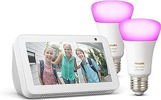 Echo Show 5, Bianco + Lampadine intelligenti a LED Philips Hue White & Color Ambiance, confezione da 2 lampadine, compatib...