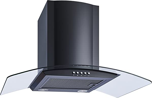 Winflo New 30 Convertible Wall Mount Range Hood In Black With Black Aluminum Mesh Filter Ultra Bright LED Lights And Push Button 3 Speed Control