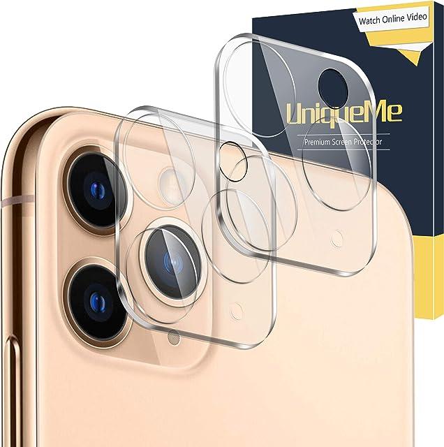 UniqueMe [2 Piezas] Protector de Pantalla de Lente de Cámara para iPhone 11 Pro/iPhone 11 Pro MAX [9H Dureza] [HD Film] [Anti-Mancha] Cristal Vidrio Templado de Lente de Cámara Premium