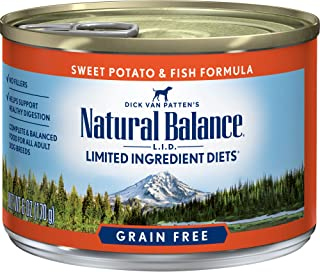 Natural Balance L.I.D. Limited Ingredient Diets Wet Dog Food, Sweet Potato & Fish Formula, 6 Ounce Can (Pack of 12) (Disco...