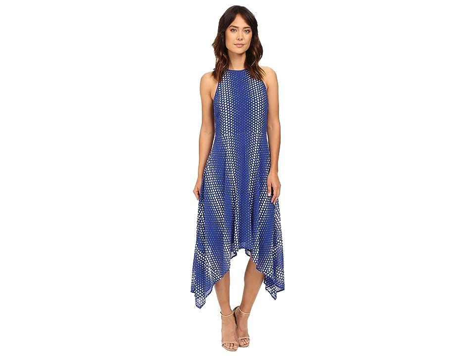 MICHAEL Michael Kors Arailia Dot Hi Lo Dress (Royal) Women