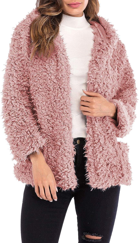 2021 model Flygo Women's Cheap Warm Fuzzy Fleece Coat Shearling J Fur Faux Hooded