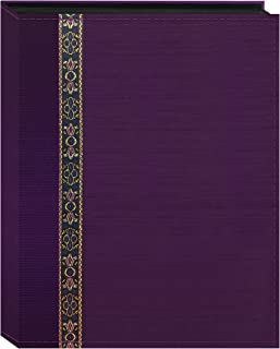 Fabric Ribbon Cover Photo Album 208 Pockets Hold 4x6 Photos, Purple