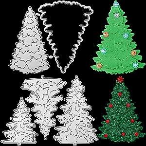 5 Pieces Christmas Tree Metal Die Cuts Christmas Card Dies Metal Tree Cut Stencils Pine Tree Cutting Dies Merry Christmas Tree Dies for Scrapbook Embossing Album Paper Card Craft Festival Decor