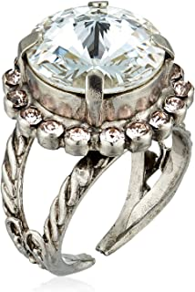 Sorrelli Womens Snow Bunny Round Cut Cocktail Ring, Clear/Pink, 1