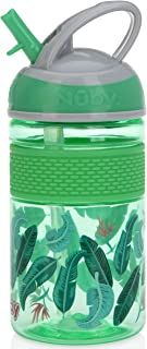 Nuby Thirsty Kids Flip-it Freestyle On The Go Water Bottle with Bite Resistant Hard Straw and Easy Grip Band, Green Banana Leaves, 12 Ounce