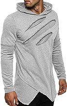COOFANDY Men's Fashion Hoodie Novelty Rock Pullover Ripped Hooded Sweatshirt Irregular Hem for Hip Hop