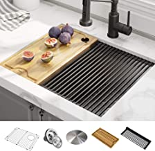 KRAUS KWU111-23 Kore Workstation 23-inch Undermount 16 Gauge Single Bowl Stainless Steel Kitchen Sink with Integrated Ledge and Accessories (Pack of 5)