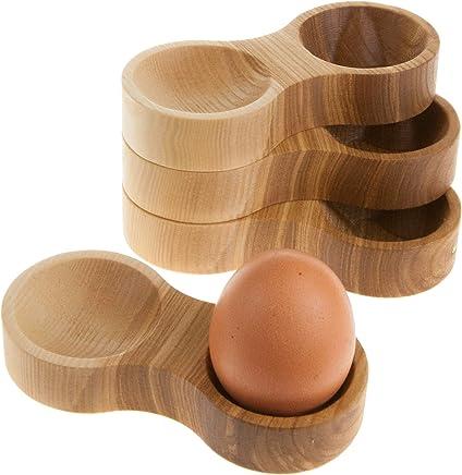 Preisvergleich für Eierbecher Holz mit Mulde für die Eierschalen | Buche, Esche, Eiche, Kirsche oder Nussbaum aus edlem Massivholz (Esche, 4)