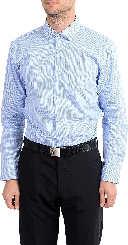 Hugo Boss EastonX Men's Slim Fit Blue Long Sleeve Dress Shirt Sz US 16.5 IT 42