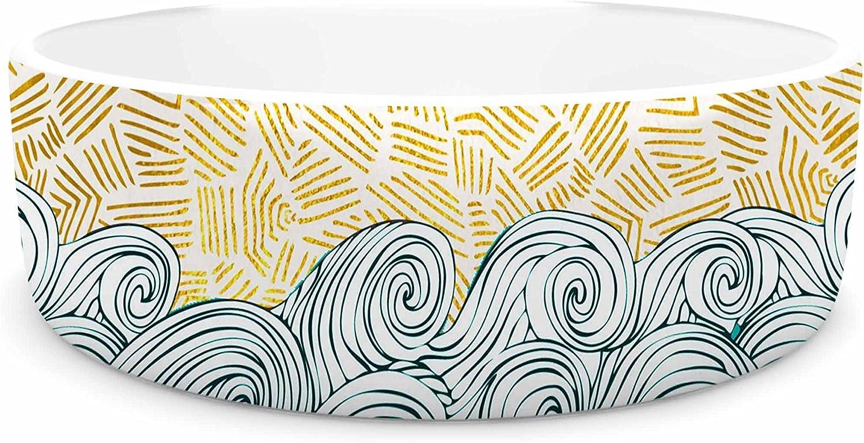 KESS InHouse Pom Graphic Design Sunny Tribal Seas II  Teal Ocean Pet Bowl, 7