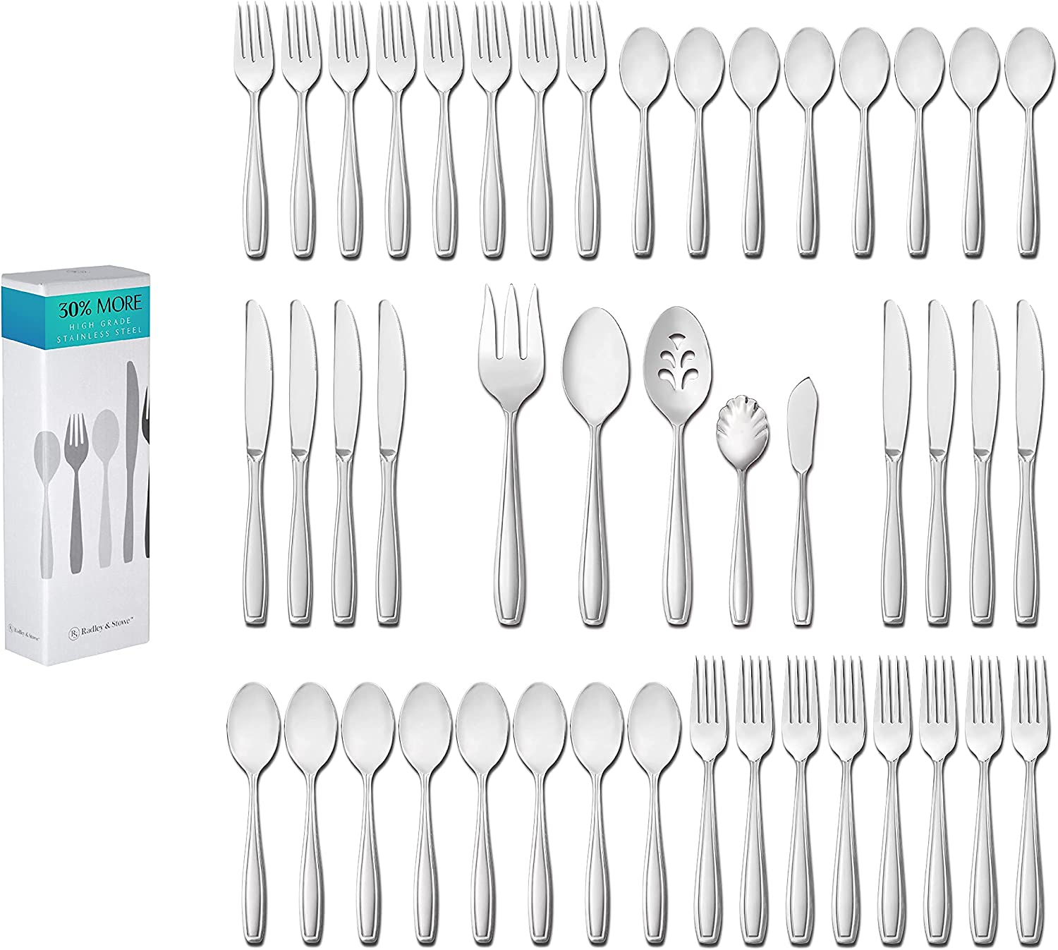 60-Piece Flatware Durable Stainless Steel Silverware S Max 40% OFF + Special Campaign 5-Piece
