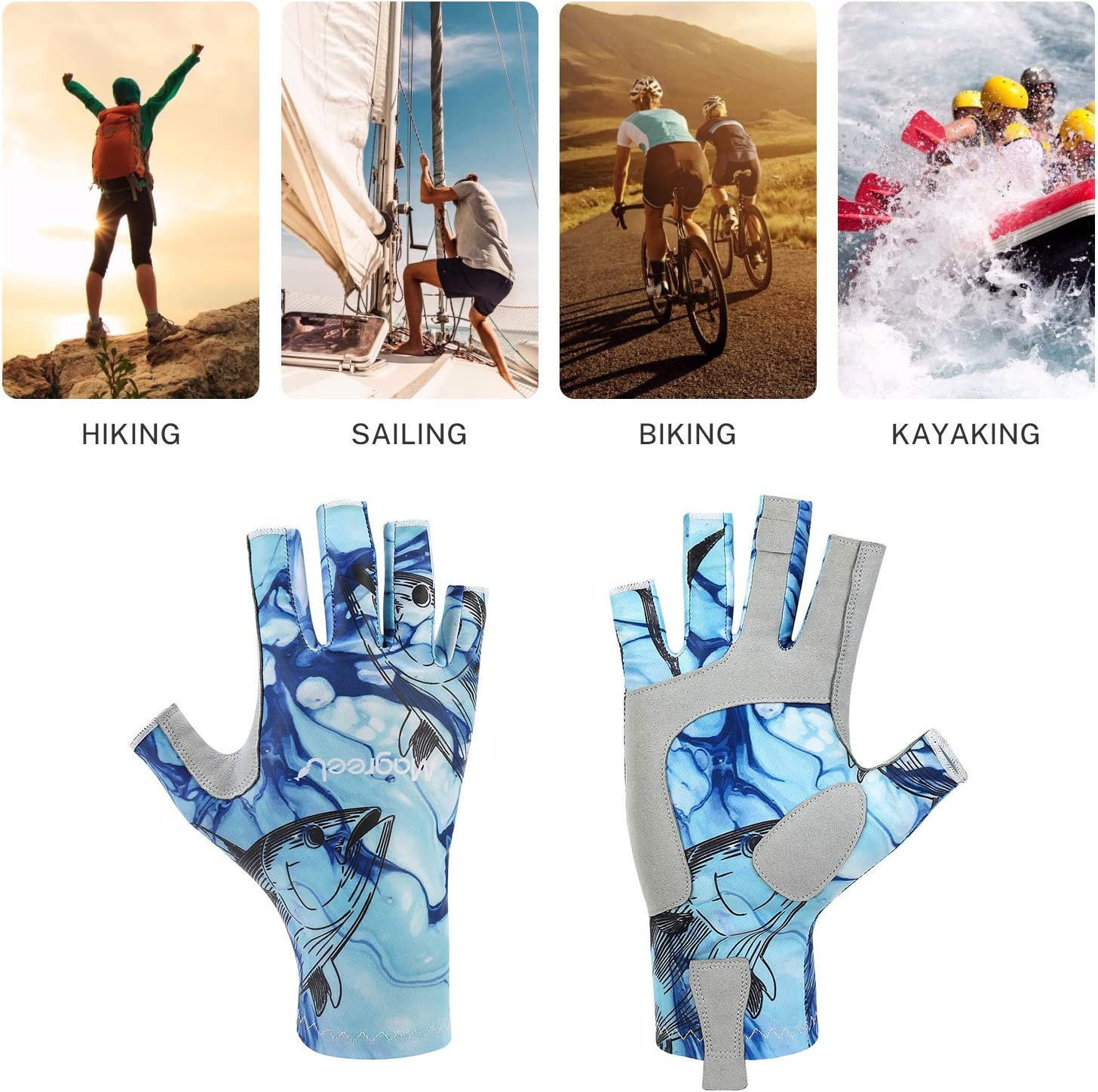 Hiking Padding UPF50+ Sun Protection Fingerless Gloves Breathable Gloves for Sailing Cycling Magreel UV Protection Fishing Gloves for Men Women Surfing Kayaking Boating
