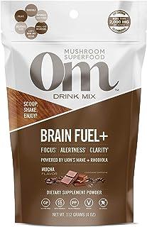 Om Organic Mushroom Nutrition Superfood Drink Mix, Brain Fuel Plus, Mocha, 4 Ounce (15 Day Supply), Lions Mane, Reishi, Fo...