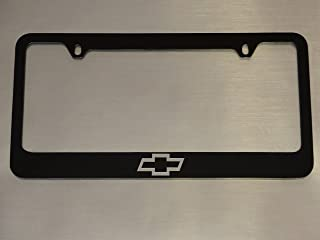 Chevy logo license plate frame, Glossy Black, Brushed aluminum text