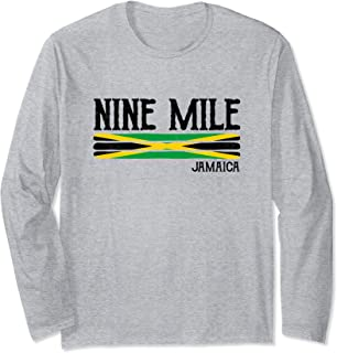 Nine Mile Jamaica Souvenir Jamaican Flag Gift Long Sleeve T-Shirt