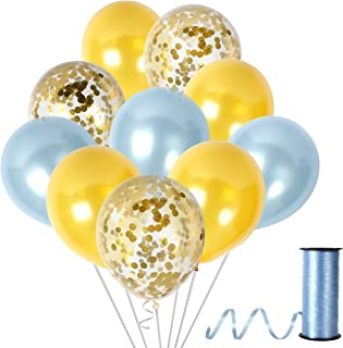 Unicorn Party Supplies in Metallic Gold Light Blue Balloons Gold Confetti Balloon for Birthday Baby Shower Wedding Party Decor