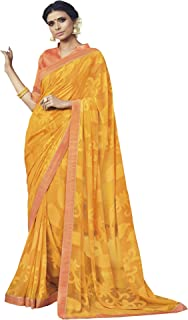 2358cf47ef Vipul Women's Georgette and Brasso Printed Saree with Lace Border and  Blouse Piece (30607,