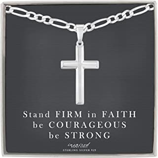 Mens Sterling Silver Cross Necklace and Figaro Chain with Inspirational Faith Card - Choice Of Sizes