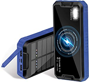 Wireless Solar Charger 20000mAh Power Bank, Portable Charger with 2 USB Outputs & LED Flashlight, Solar Charger External Battery Backup for Smart Phone,for iPhone/Android/Tablet (Blue 20000mah)