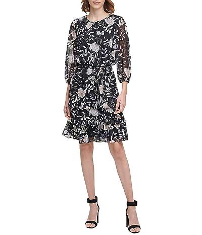 Calvin Klein Printed Long Sleeve Tiered Dress with Belt (Black Multi) Women