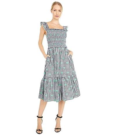 Kate Spade New York Gingham Voile Smocked Dress (Fresh White) Women