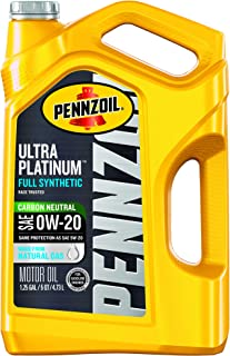 Pennzoil - 550045193 Ultra Platinum Full Synthetic 0W-20 Motor Oil (5-Quart, Pack of 1)