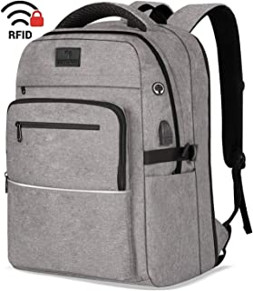Laptop Backpack,WhiteFang 17.3 Inch Extra Large TSA Friendly Business Travel Laptop Backpack with USB Charging Port, RFID Pockets Water Resistant Big School Backpack for Women & Men Fits 17.3 Inch Laptop-Grey