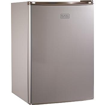 BLACK+DECKER BCRK25V Compact Refrigerator Energy Star Single Door Mini Fridge with Freezer, 2.5 Cubic Feet, VCM, Brushed Metal Finish