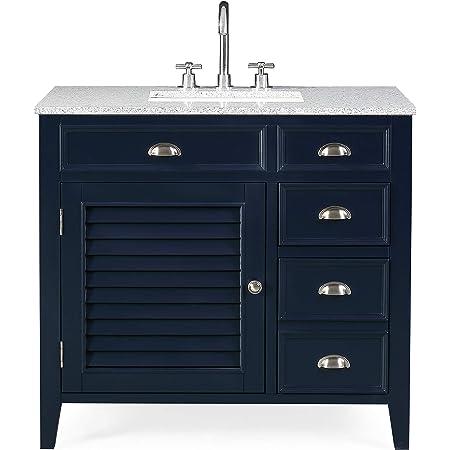 Amazon Com 36 Zapata Navy Blue Modern Bathroom Vanity With Gray Granite Top Nb 6685ra Tools Home Improvement