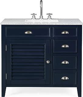 "36"" Zapata Navy Blue Modern Bathroom Vanity with Gray Granite Top NB-6685RA"
