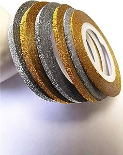 Valuu 6 Rolls Glitter Gold Silver Nail Art Stripping Tape Line Shiny Matte Nail Art Decoration Strips 1mm 2mm 3mm Adhesive...