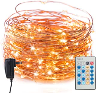 Twinkle Fairy String Lights with Remote & Timer, 40 Ft. 120 LED Copper Wire Firefly Lights for Bedroom Wedding Gathering Party Christmas DIY Decoration, Warm White