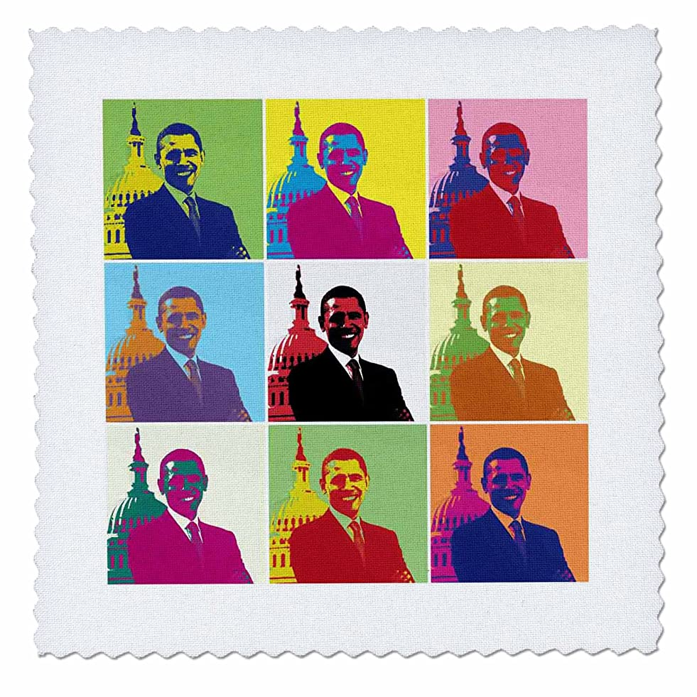 3dRose qs_130692_1 President Barack Obama Pop Art Multi-Views Quilt Square, 10 by 10-Inch p476344371