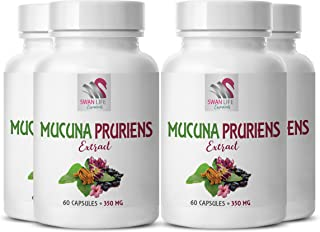 mucuna pruriens for Sleep - MUCUNA PRURIENS Extract - Mood Support Ingredients - Brain Support Diet - 4 Bottles 240 Capsules