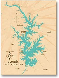 Lake Norman North Carolina Vintage-Style Map Giclee Archival Canvas Print Wall Art Décor for Home & Office by Lakebound (9